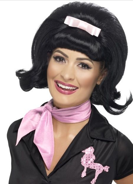 a8f85253fb 50 s Flicked Beehive Wig - Black 43226