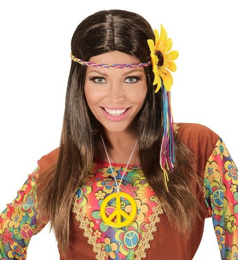 60 S 70 S Brown Hippie Wig With Sunflower 04657 60 S Wig