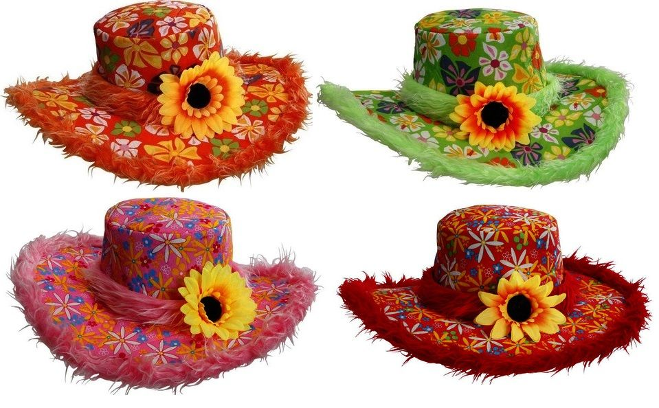60 s 70 s Ibiza Flower Hat 2597 53bee7c1a32