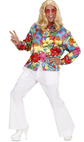 60's Flower Power Shirt - plus size 70's shirt