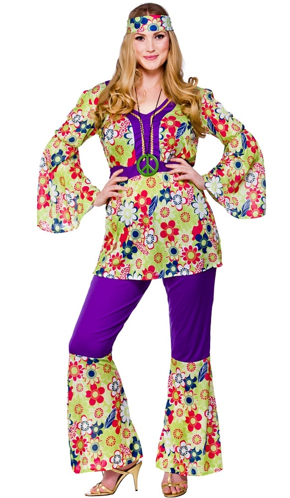70 S Hippie Chick Girl Costume Plus Size Fancy Dress Costumes